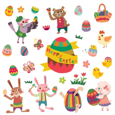 Happy Easter with many graphical elements Vector