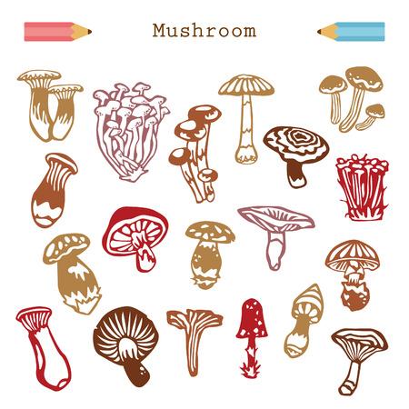 set icons mushrooms