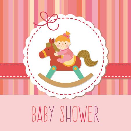 schommelpaard: babymeisje op houten hobbelpaard