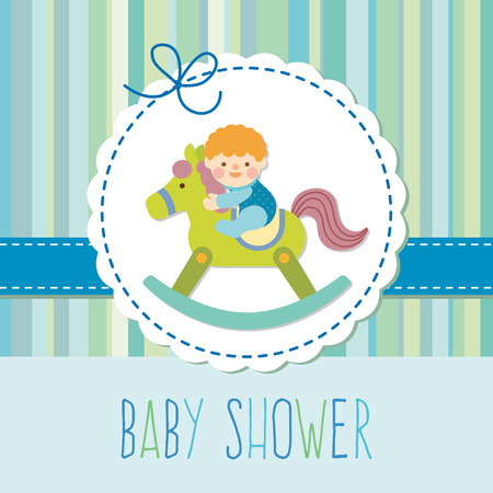 baby boy on wooden rocking horse Vector