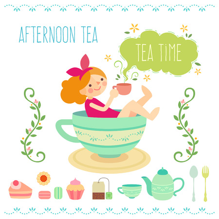 tea time: a cute girl with england style tea time background