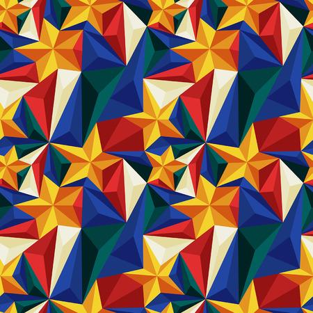 Naadloze patroon met opluchting driehoeken en sterren