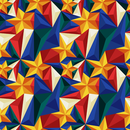 relief: Seamless pattern with relief triangles and stars
