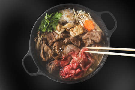 High-quality Wagyu grilled sukiyaki of high-quality Japanese beef beef