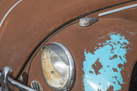 a recessed or rusty car