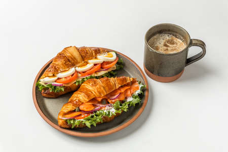 Croissant Sandwich Ham Sandwich with Cheese 写真素材