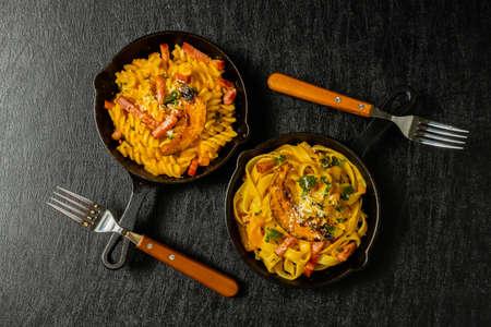 Pasta with cream sauce Homemade pumpkin cream sauce pasta