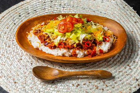 Taco Rice Japanese Food, Okinawa style taco rice Stock fotó