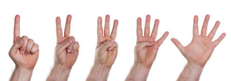 Human hands counting numbers from one to five photo