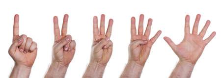 dedo indice: Las manos humanas contando los n�meros del uno al cinco Foto de archivo