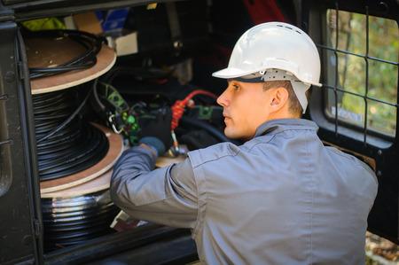 telephone cord: Telephone Engineer At Work