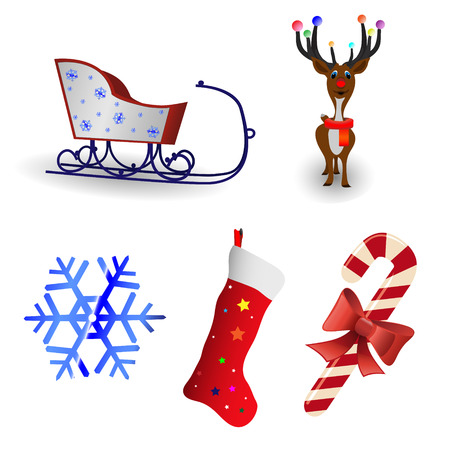 �hristmas icon collection on a white background Stock Vector - 5951572