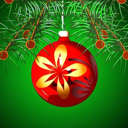 La esfera roja colgando de un árbol de pieles un fondo verde Foto de archivo - 6000652