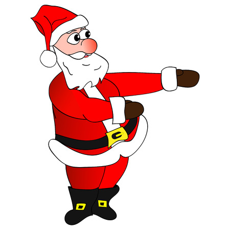 aside: Illustration Santa Claus shows hands aside, a white background