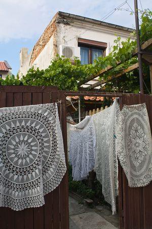 Hand-made tablecloths sold as souvenirs in Nesebar, Bulgaria photo