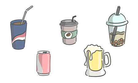 Illustration of drink, soft drink with line art technical drawing.