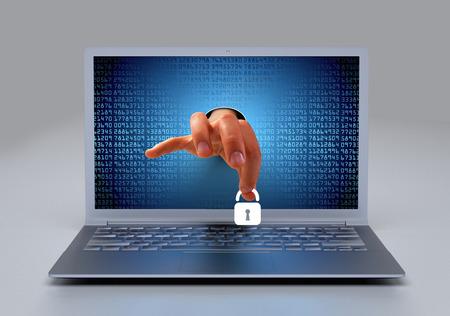 de hand komt uit een computer - Padlock