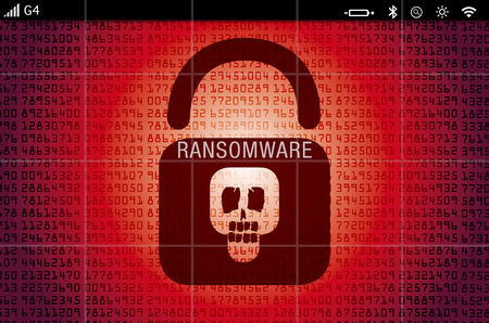 Ransomware virus at a hacked computer laptop screen
