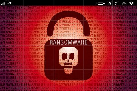 wirus ransomware na zaatakowaną ekranie komputera przenośnego