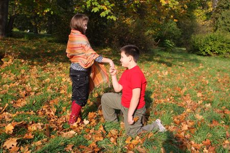 comfy: Two children collecting autumn leaves Stock Photo