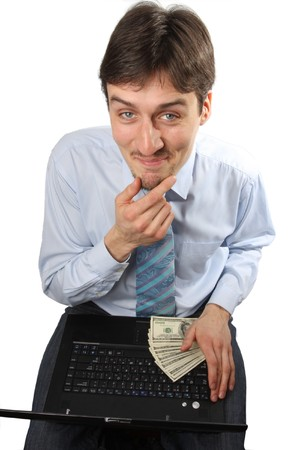 Portrait of funny man screaming during typing a document photo