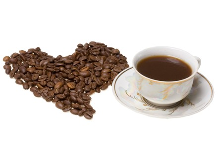 Heart from coffee beans close up Stock Photo - 4226501