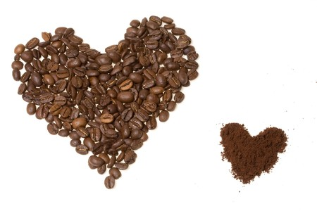 Heart from coffee beans close up photo