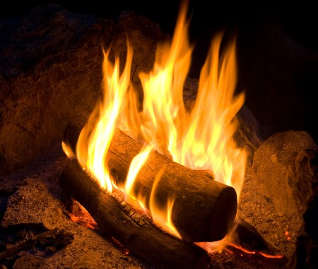 outdoor fireplace: Campfire Stock Photo