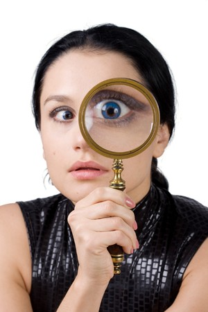 big eye: Eye and magnifying glass Stock Photo