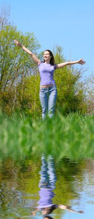happy girl on the meadow Stock Photo - 4767104