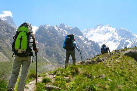 caucasus: Happy family  in Caucasus mountains