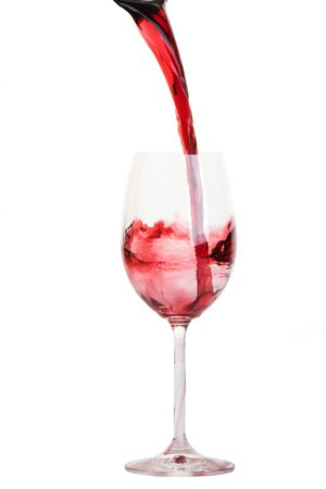 fill up: bocal with red wine closeup Stock Photo