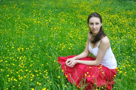 Girl relaxing on the meadow Stock Photo - 5004500