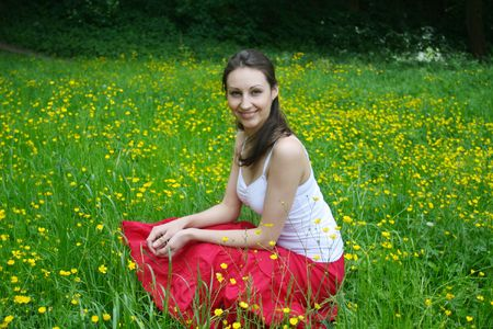 Girl relaxing on the meadow Stock Photo - 5004518