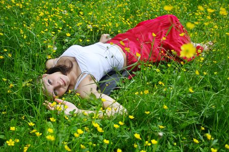 Girl relaxing on the meadow Stock Photo - 4974797