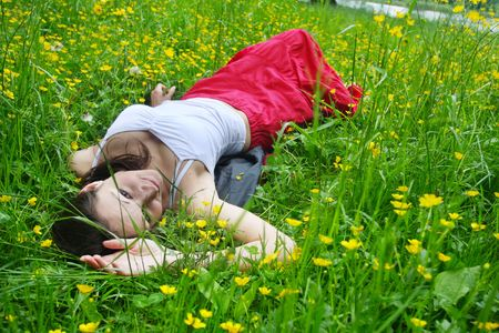 Girl relaxing on the meadow Stock Photo - 5004504