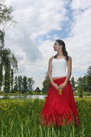 Girl relaxing on the meadow Stock Photo - 5004491