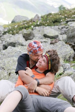 Couple in the mountains photo