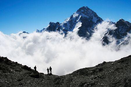 hike: Backpackers silhouette