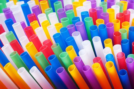 rainbow cocktail: Colorful drinking straws background Stock Photo