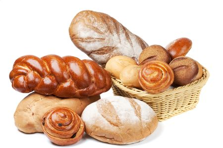 sustenance: Assorted bread on a white  Stock Photo