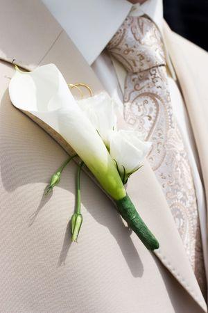 beautiful flowers on lapel of male photo
