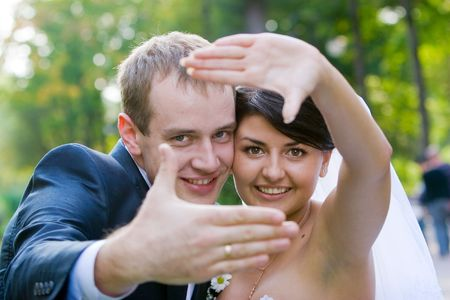 Happy bride and groom on their wedding day Stock Photo - 6591719