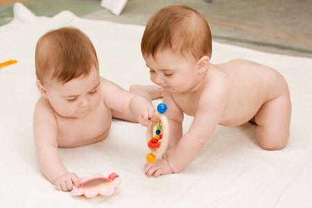 fanny: twin girls Stock Photo