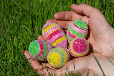 Easter eggs on a green grass photo