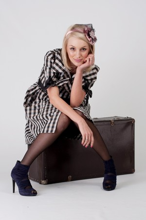 model with a baggage photo