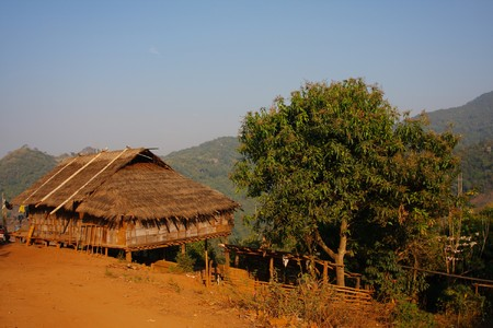 bamboo house in mountain village photo