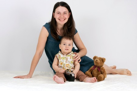 boy and mother at studio photo