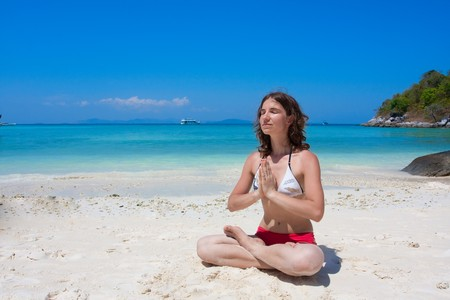 yoga on the beach Stock Photo - 7276949