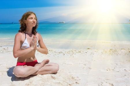 yoga on the beach Stock Photo - 7276886